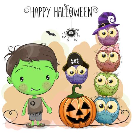Halloween card with boy and owls on a orange background Illusztráció