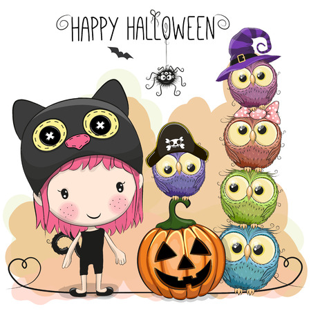 Halloween-kaart met meisje en uilen op een gele achtergrond Stockfoto - 85862769