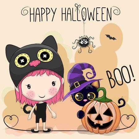 Halloween-kaart met meisje en kat op oranje achtergrond