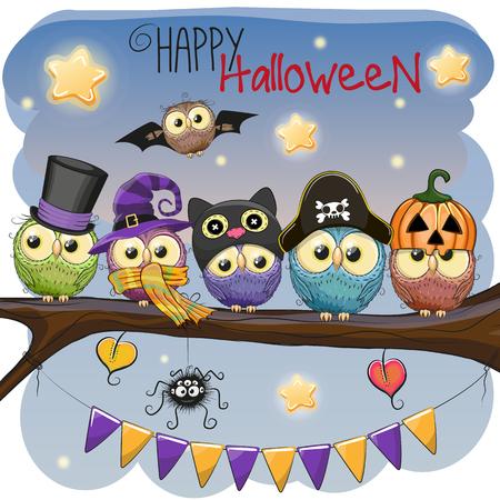 Halloween-kaart Vijf uilen op de tak Stock Illustratie