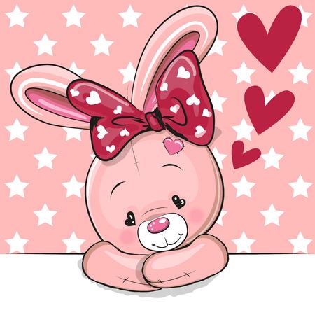ピンクの背景に心を持つかわいい漫画のウサギ