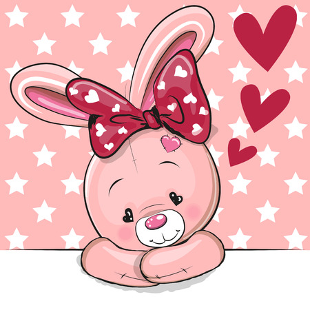 Cute Cartoon Rabbit with hearts on a pink background Ilustracja