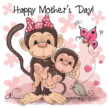 Wenskaart Twee apen een moeder en een baby dochter