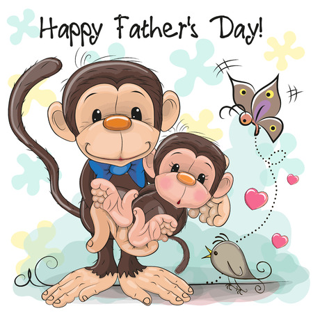 Greeting card Two monkeys a father and a baby son