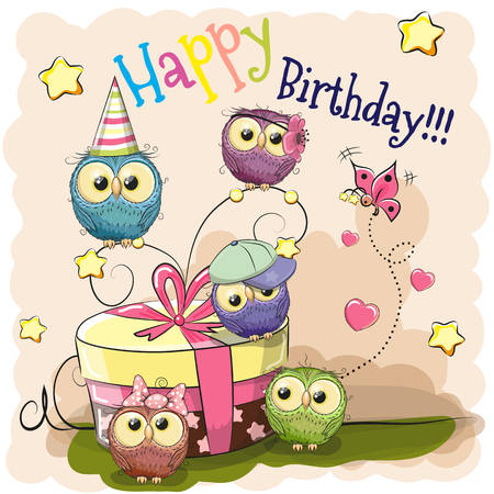 Greeting Birthday card cute five Owls with gift