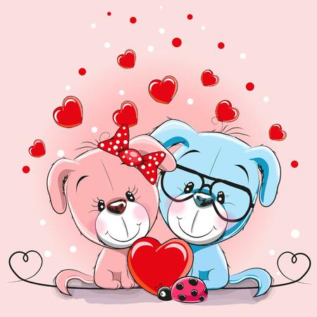 Carte de Saint Valentin avec les amoureux et les coeurs vector illustration Banque d'images - 86157025