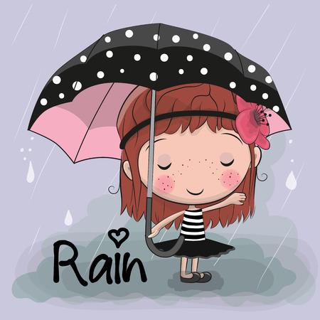 Cute cartoon girl girl with an umbrella standing under a rain vector illustration