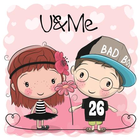 Cute Cartoon Boy and Girl on a hearts background vector illustration 向量圖像