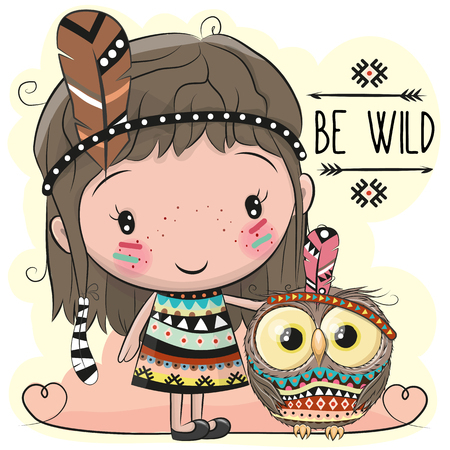 Cute Cartoon tribal girl and owl with feather