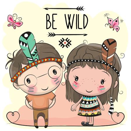 かわいい漫画の部族の女の子と羽を持つ少年  イラスト・ベクター素材