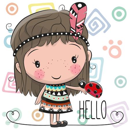 かわいい漫画の部族の女の子とてんとう虫