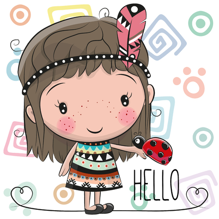 Cute Cartoon tribal girl and ladybug