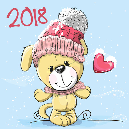 Cute Cartoon Puppy in a knitted cap with heart