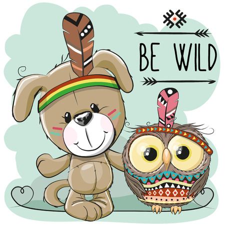 Cute Cartoon tribal dog and owl with feather