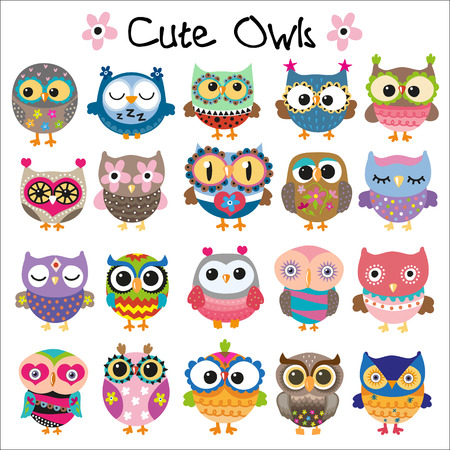 Set of Cute Cartoon Owls on a white background
