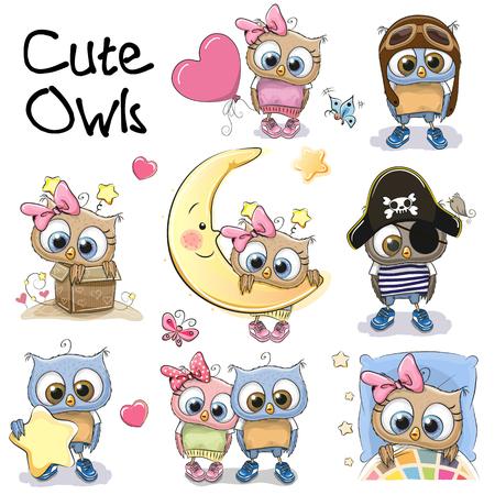 Set of Cute Cartoon Owls on a white background Zdjęcie Seryjne - 87041794