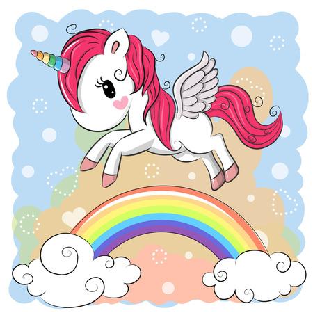 漫画のかわいいユニコーン虹の彼方に飛んでいます。  イラスト・ベクター素材