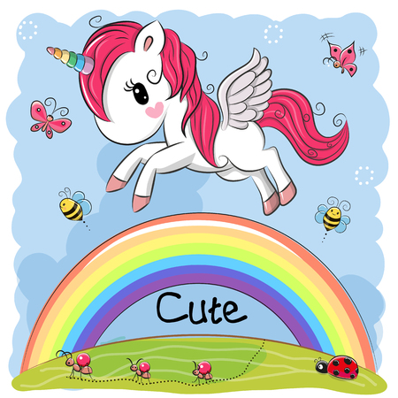 Cute Cartoon Unicorn is flying over the rainbow Ilustracja