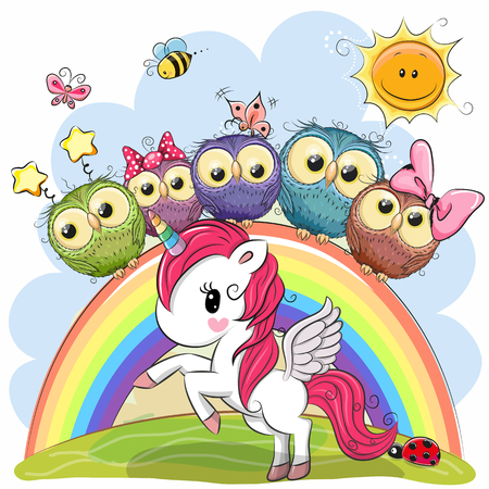 Cartoon Unicorn and Five Cute Owls is sitting on a rainbow