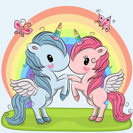 虹の背景の 2 つのかわいいユニコーン