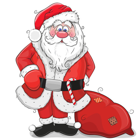 Cute Cartoon Santa Claus with bag Illusztráció