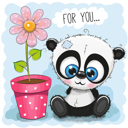 Greeting card with Panda and a flower