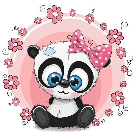 Panda girl with flowers 向量圖像