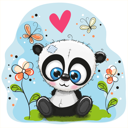 children painting: Cute Panda with flowers and butterflies