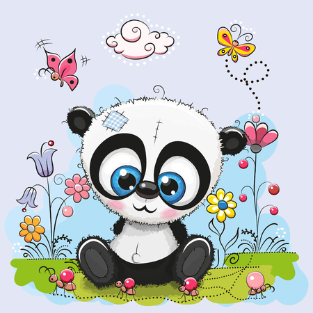 children painting: Cute Cartoon Panda with flowers and butterflies on a meadow Illustration