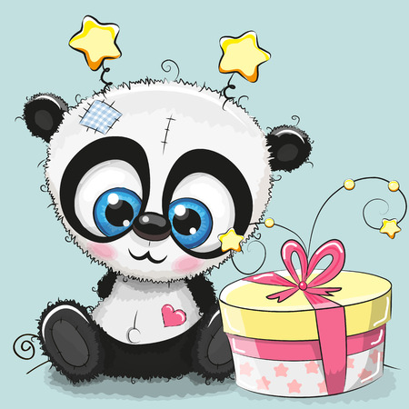 children painting: Greeting card cute Panda with gift Illustration