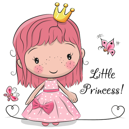 Cute fairy-tale Princess isolated on a white background Illustration