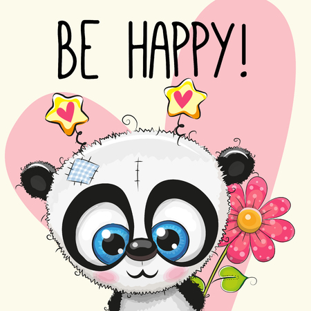 Be Happy Greeting card Panda with hearts and a flower 向量圖像