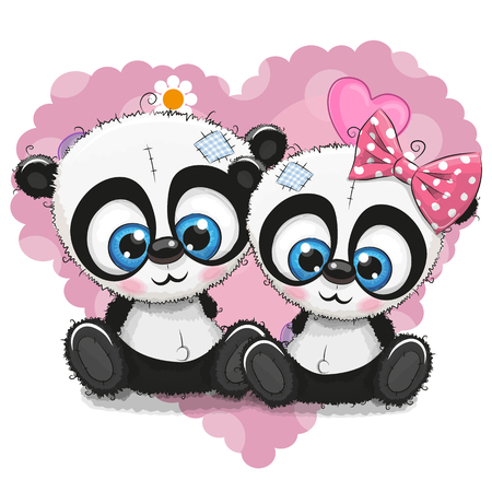 Two Cute Cartoon Pandas on a background of heart