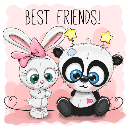 Cute Panda and rabbit girl on a pink background Ilustração