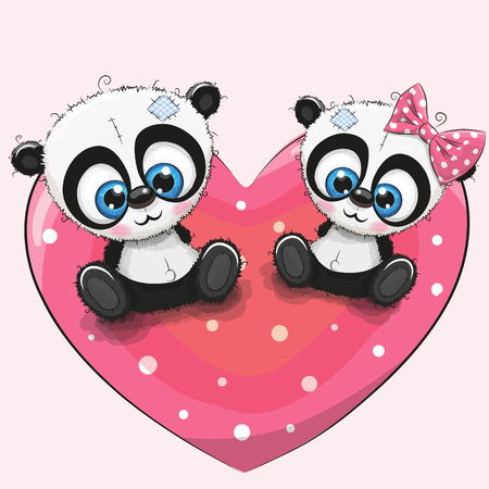 Two cute Pandas is sitting on a heart