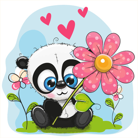 baby toy: Greeting card cute Panda with flower and hearts Illustration