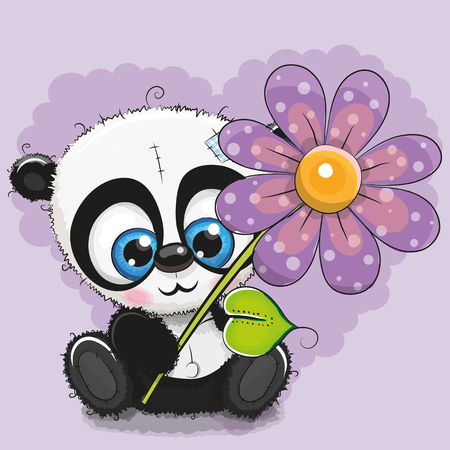 baby toy: Greeting card Panda with flower on a purple background