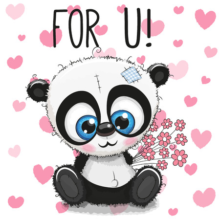 Valentine card Cute Cartoon Panda with flowers on a heart background