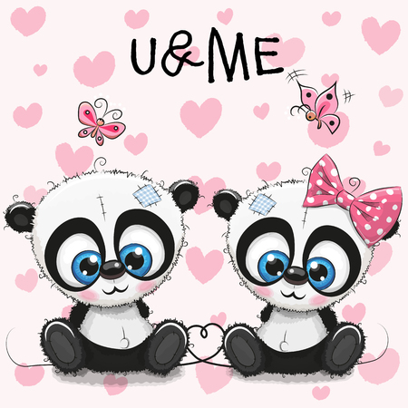 baby toy: Two cute Cartoon Pandas on a hearts background