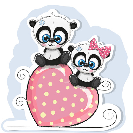 baby toy: Two Pandas is sitting on a heart on a blue background Illustration