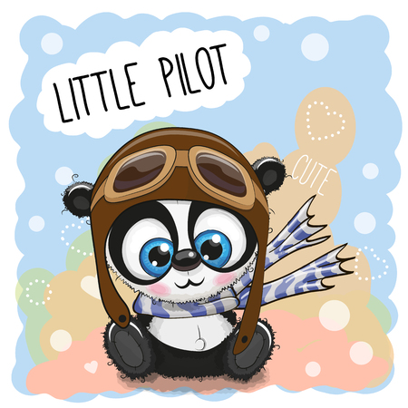 Cute cartoon Panda in a pilot hat Illustration