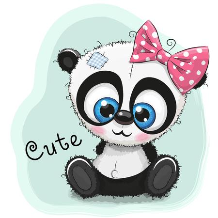 귀여운 드로잉 팬더 소녀는 파란색 배경에 고립 된 일러스트