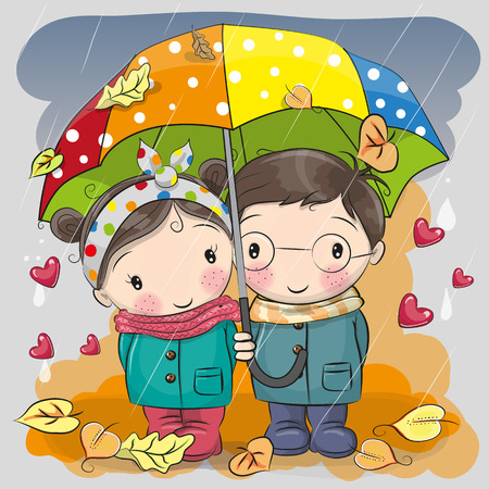 Cute Boy and girl with umbrella under the rain