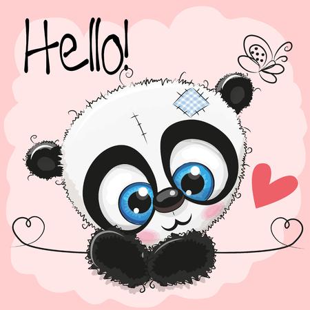 Cute Drawing Panda on a pink background Фото со стока - 87852629