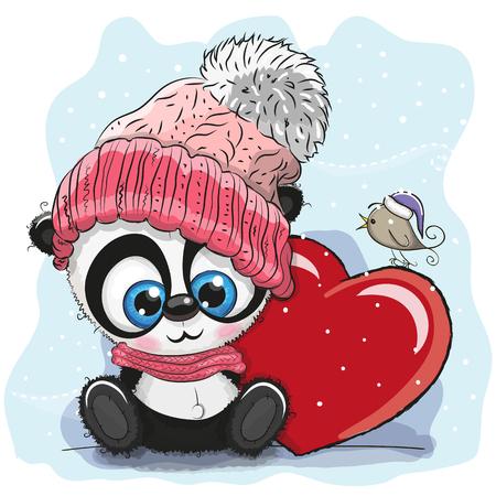 Cute Cartoon Panda in a knitted cap and a heart