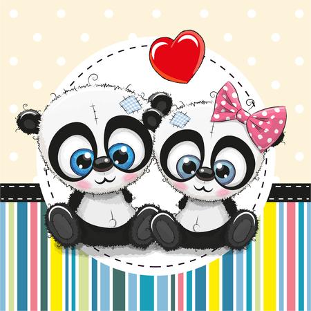 Wenskaart met twee schattige Cartoon Panda's Stock Illustratie