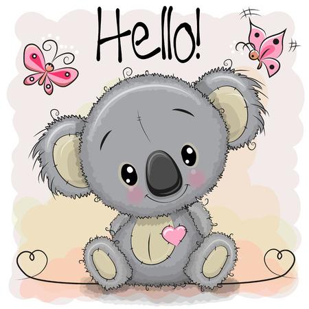 인사말 카드 나비와 함께 귀여운 만화 코알라