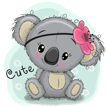 Cute Drawing Koala girl isolated on a blue background