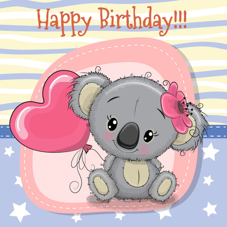 Greeting card Cute Koala girl with balloon Illustration