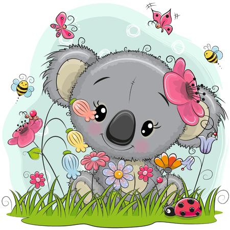 牧草地には花と蝶のかわいい漫画のコアラの女の子